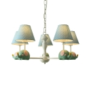 Blue/Pink Elephant Doll Chandelier 5 Lights Cute Metal LED Hanging Light in Warm for Child Bedroom