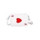 Fashion Creative Playing Card Pattern White Square Crossbody Bag 21*6.5*15 CM