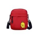 Cute Cartoon Yellow Duck Printed Canvas Crossbody Bag for Juniors 13*6*17 CM