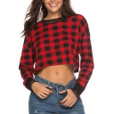 Red Plaid Print Mesh Contrast Trim Round Neck Long Sleeve Crop Tee Top for Women