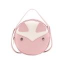 Cute Cartoon Animal Pattern Rivet Embellishment Top Handle Round Crossbody Bag 17*7*17 CM