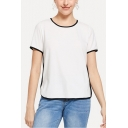 Women's Round Neck Short Sleeve Plain Contrast Trim Casual White Tee
