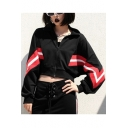 Cool Women's Colorblock Zip Up Stand Collar Long Sleeve Black Cropped Sweatshirt