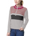 Women's Stripes Print Zipper Front Contrast Trim Stand Collar Long Sleeve Sweatshirt