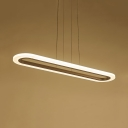 Warm/White Lighting LED Suspension Light 31.5/40 Inch Creative Oval Hanging Light for Cafe
