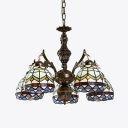 Tiffany Style Dome Chandelier 5 Lights Stained Glass Hanging Light for Dining Room