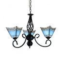 Mediterranean Style Craftsman Chandelier Glass 3 Lights Blue Pendant Lamp for Shop Cafe