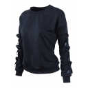 Dark Blue Round Neck Bow-Knot Long Sleeve Pullover Sweatshirt