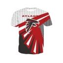 Summer Stylish Short Sleeve Round Neck Letter Atlanta 3D Print Red T-Shirt For Men