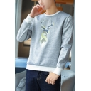 Men's Cool Geometric Deer Printed Long Sleeve Round Neck Loose Casual Pullover Sweatshirt