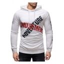 New Stylish ADVENTURE Letter Sport Fitted White Drawstring Hoodie for Men