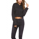 Women's Chic Beading Embellished Long Sleeve Round Neck Black Cropped Hoodie