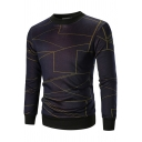 Men's Stylish Geometric Printed Long Sleeve Round Neck Pullover Jersey Sweatshirt