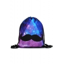Fashion Creative 3D Galaxy Moustache Printed Purple Storage Bag Drawstring Backpack 30*39 CM