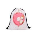 Hot Fashion Unicorn Polka Dot Printed White Storage Bag Drawstring Backpack 30*39 CM