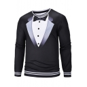 Men's Personalized Blazer Tie Print Fake Two Pieces Long Sleeve Black Pullover Sweatshirt