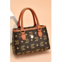Trendy Printed Button Embellishment Brown Tote Handbag for Women 22*7*14 CM