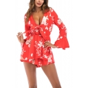 Hot Fashion Bell Long Sleeve Plunge Neck Floral Print Bow Detail Mini Dress For Women