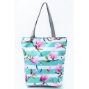 Women's Fashion Floral Stripe Pattern Green Shoulder Tote Shopper Bag 27*11*38 CM