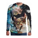 Funny Cat Galaxy Print Round Neck long Sleeve Black Pullover Sweatshirt