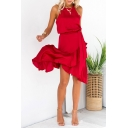 Womens Summer Halter Sleeveless Ruffle Asymmetric Hem Plain Midi Dress