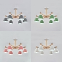 Wood Dome Chandelier 6 Lights Simple Style Pendant Light with Macaron Color for Adult Kids Bedroom