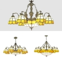 Vintage Style Hanging Light Dome Shade 7/9/13 Lights Glass Chandelier with Mermaid for Restaurant