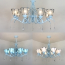 Tiffany Style Suspension Light Cone Shade 8 Lights Blue/Clear/White Glass Chandelier for Dining Room