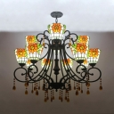 Stained Glass Sunflower Chandelier with Amber Crystal Villa Tiffany Style Rustic Pendant Light