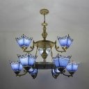Living Room Cone Pendant Light Glass 2-Tier 9 Lights Mediterranean Style Blue Chandelier