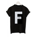 F YOU Letter Black Round Neck Short Sleeve Tee