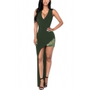 Sexy Night Club Plunge V Neck Sleeveless Green Solid Color Lace Patched Maxi Asymmetric Dress