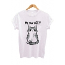 MEOW OFF Letter Cartoon Lovely Cat Printed White Round Neck Short Sleeve Tee