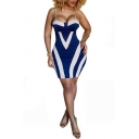 Trendy Sexy Blue and White Stripe Printed Spaghetti Straps Sleeveless Slip Bodycon Dress