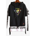 New Stylish Triangle Cartoon Printed Short Sleeve Ribbon Detail Fake Two-Piece Black Hooded T-Shirt