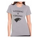 Women's WEDDING IS COMING Letter Wolf Printed Short Sleeve Round Neck Graphic T-Shirt