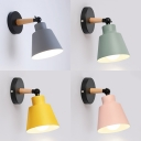 Simple Style Bucket Wall Light 1 Light Metal Sconce Light in Macaron Gray/Pink/Yellow/Green for Study Room