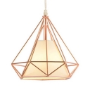 Metal Diamond Cage Ceiling Lamp Living Room Single Light Industrial Pendant Light in Rose Gold