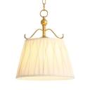 White Tapered Shade Pendant Light 1 Light Traditional Fabric Suspension Light for Hotel Villa