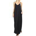 Summer Fashion Loose Spaghetti Straps Sleeveless Plain Maxi Cami Dress with Two Pockets