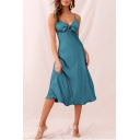 Women's Backless Spaghetti Strap Cutout V-Neck Plain Gathered Waist MIdi A-Line Dress