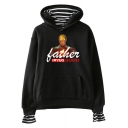 New Trendy Father's Day Iron Figure Letter FATHER I LOVE YOU 3000 Casual Loose Hoodie