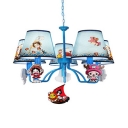 Kid Bedroom Cartoon Character Chandelier with Tapered Shade Metal 5 Lights Lovely Blue Pendant Lamp