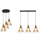 Antique Wire Frame Pendant Light 3 Lights Metal Linear/Round Canopy Suspension Light in Black for Restaurant