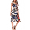 Women's Stylish V-Neck Sleeveless Colorblock Tribal Print Bow-Tied Waist Midi Chiffon Tank Dress