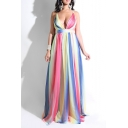 Fashionable Plunge Neck Spaghetti Straps Ombre Pattern Backless Length Floor Slip Chiffon Nightclub Dress