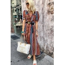 Women's Style V-Neck Puff Short Sleeve Stripes Printed Belt Maxi Shirt Red Dress