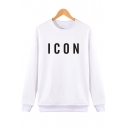 Stylish Simple Letter ICON Printed Round Neck Long Sleeve Classic Fit Sweatshirt