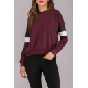 Colorblock PU Patched Long Sleeve Round Neck Pullover Sweatshirt