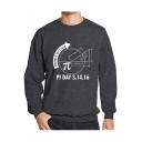 New Trendy Letter PI DAY Graphic Printed Long Sleeve Crewneck Pullover Sweatshirt